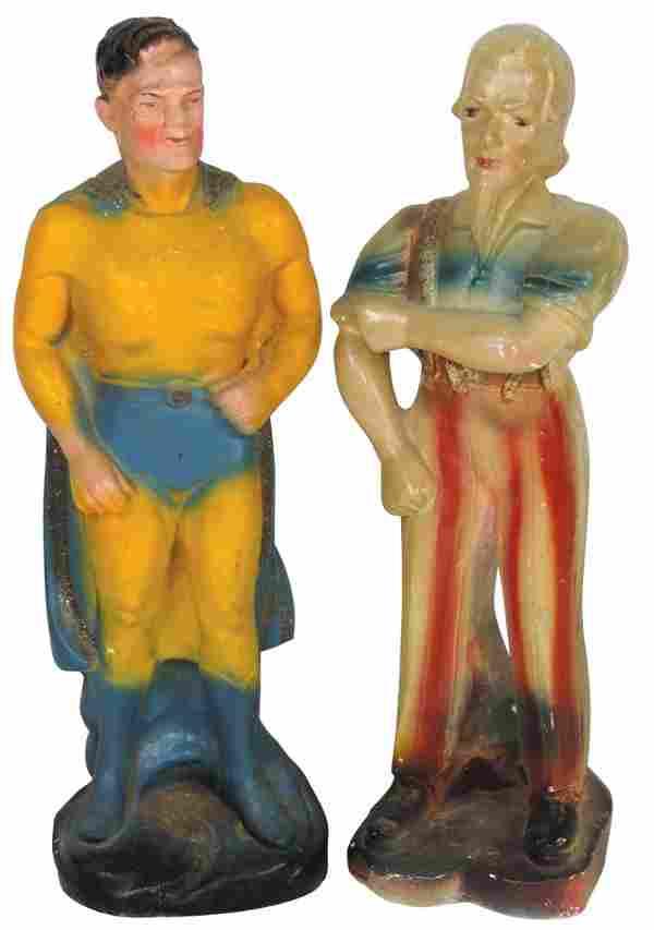 Carnival chalkware figures, Uncle Sam & Superman, both