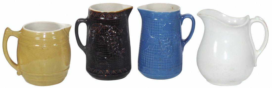 Stoneware & ironstone milk pitchers (4), J.&G. Meakin