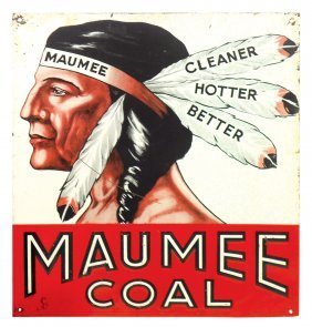 Coal Sign, Maumee Coal, Embossed Metal, Vg Cond W/some