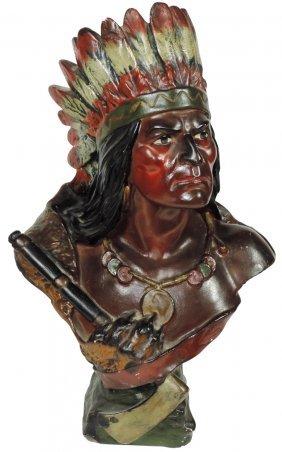 Cigar Store Indian Bust, Warrior Holding War Axe,