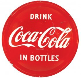 Coca-cola Button Sign, Drink Coca-cola In Bottles,