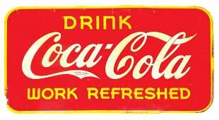 Coca-Cola sign, Work Refreshed, self-framed metal, Good