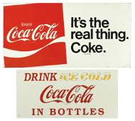 Coca-Cola signs (2), Drink Ice Cold in Bottles, tin,