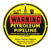 Petroliana sign Warning Petroleum Pipeline Amoco