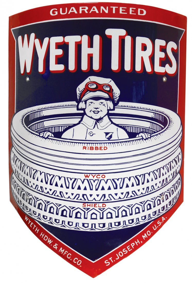 Automotive sign, Wyeth Tires, curved porcelain, from