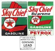 Gasoline pump plates (3), Texaco Sky Chief Su-Preme Gas