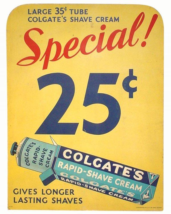 003: Colgate's Rapid-Shave Cream cardboard easel back s
