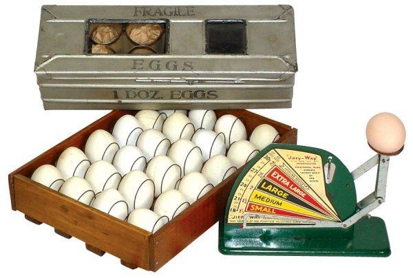 011: Kitchenware, Jiffy-Way egg scale, metal shipping c
