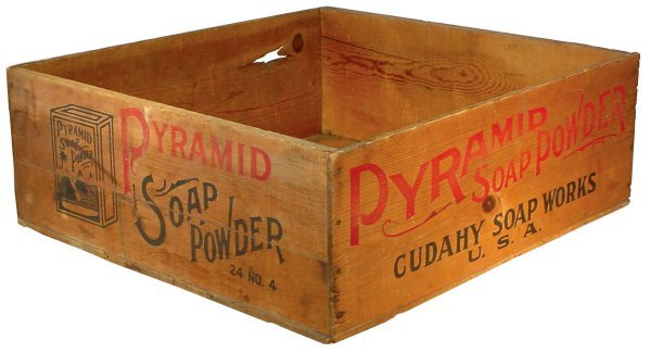 022: Wooden advertising box for Pyramid Soap Powder, Cu