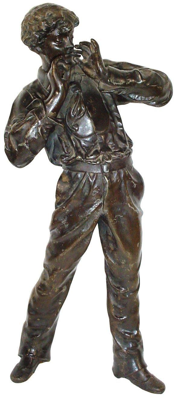 462: Cigar statue, Victorian boy smoking cigar, heavy c