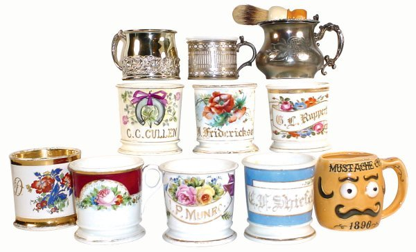 507: Barber shop shaving mugs (11); 3 personalized mugs
