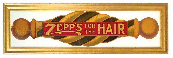 """512: Barber shop window decal, """"Zepp's for the Hair"""", c"""
