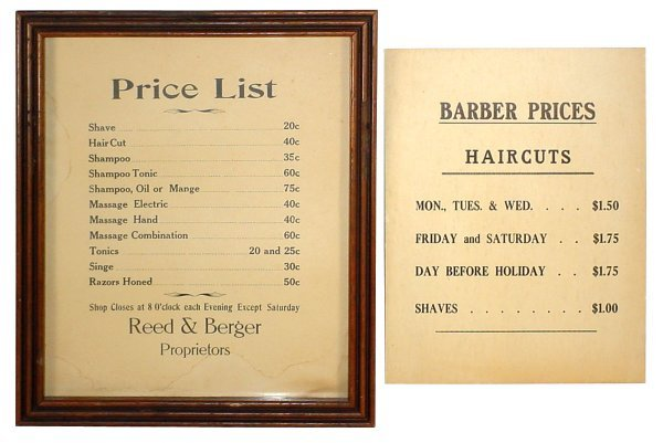 513: Barber shop price posters (2); early 1900's cdbd.