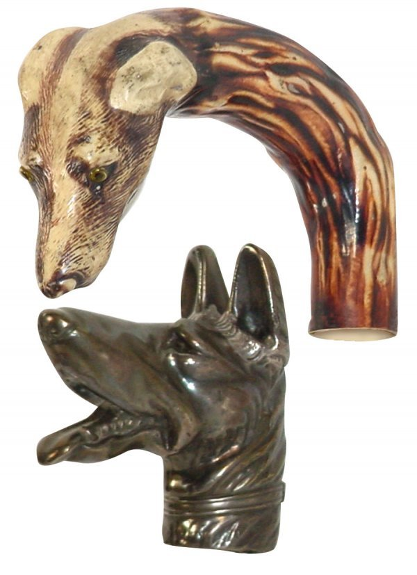 520: Cane handle w/dog's head w/glass eyes & handle for