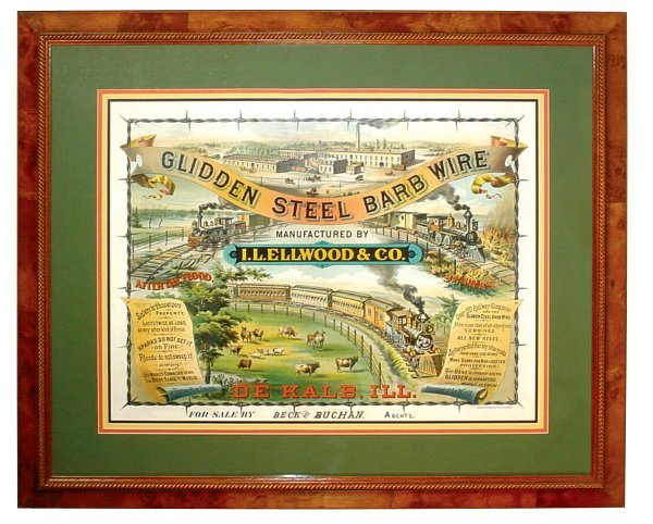 """798: Litho on paper sign, """"Glidden Steel Barb Wire"""", mf"""