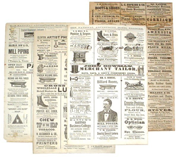 1054: Billiard table advertisements (4); pages from the