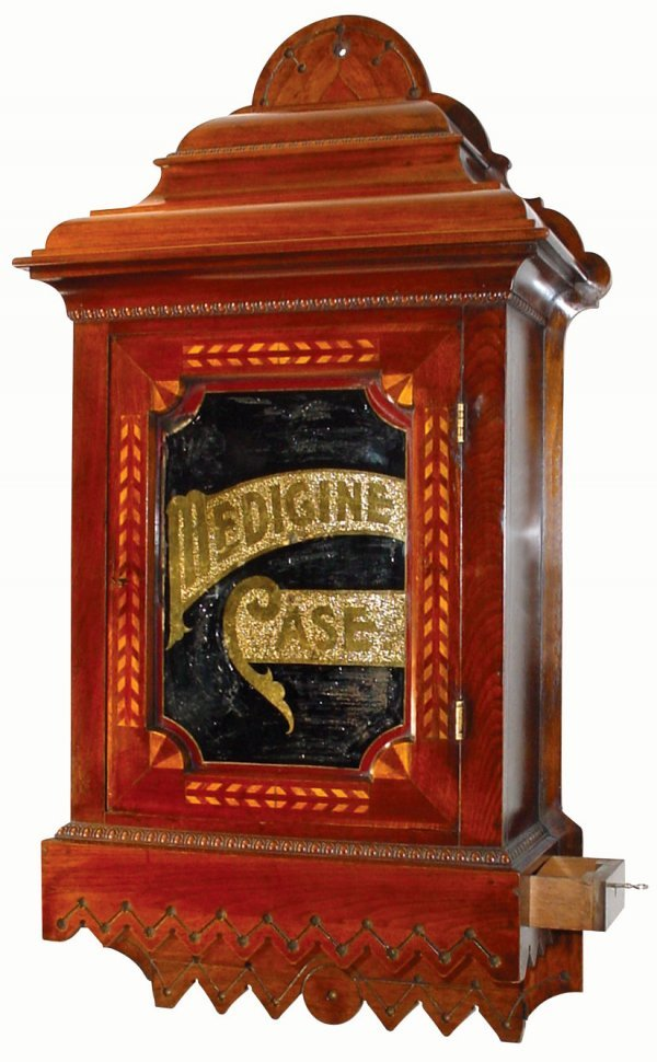 1434: Medicine case, walnut wall-mounted Physician's me