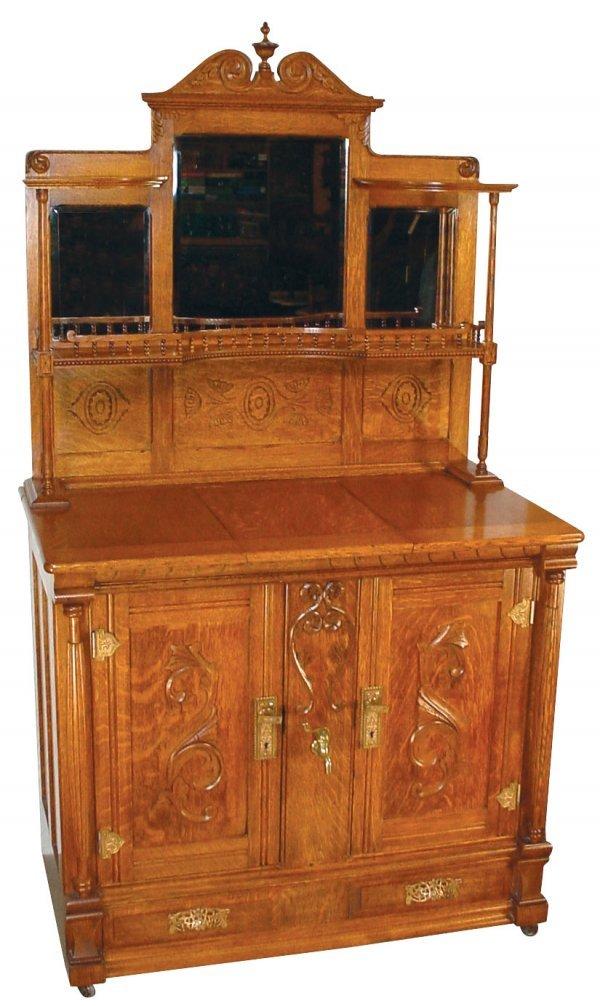 1462: Furniture, ice-box buffet, oak, Quaker City Refri
