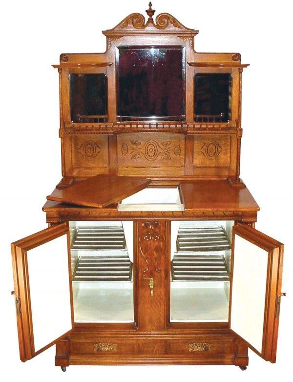 1462: Furniture, ice-box buffet, oak, Quaker City Refri - 2