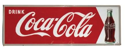 Coca-Cola sign, self-framed metal fishtail w/bottle,