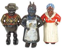 Black Americana still banks (3), all cast iron, A.C.