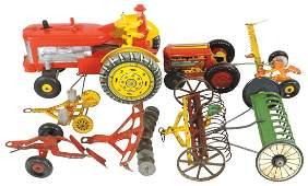 Farm toys 8 Marx tin litho keywind tractor  mower