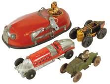 Toy cars 4 cast iron fire car wdriver Marx keywind