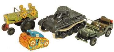 Toy military vehicles (4), tin litho windups, Marx
