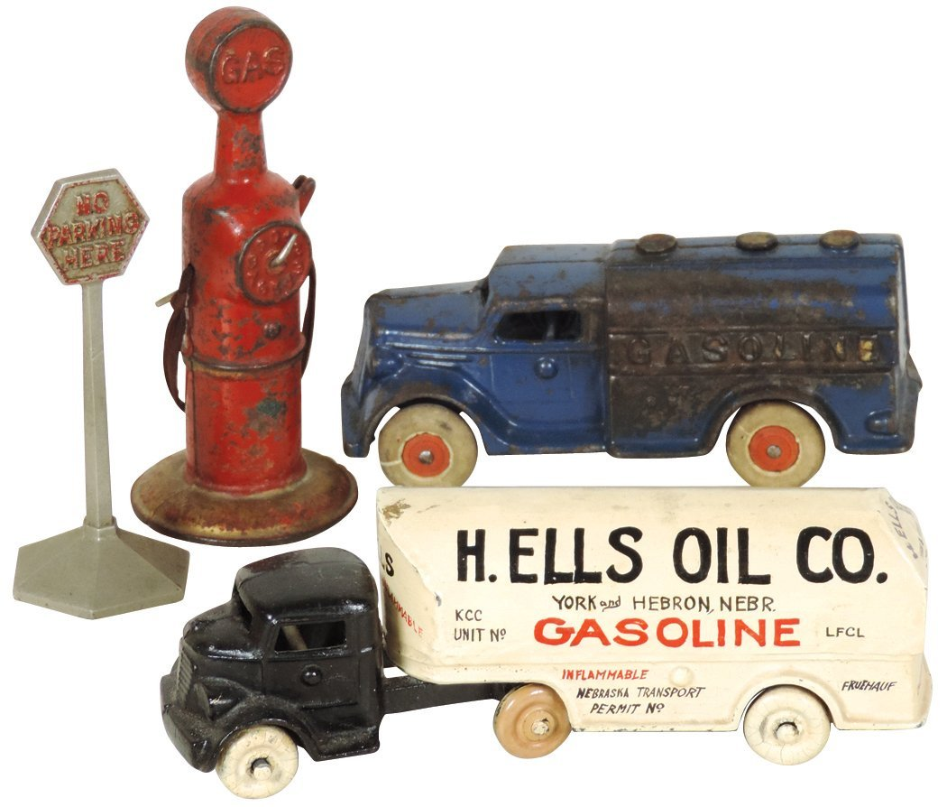 Toys (4), all cast iron, Gasoline truck w/hard rubber