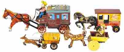 Toys (4), tin lithos, Marx Toy Town Dairy windup,