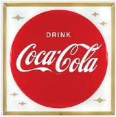 Coca-Cola sign, self-framed metal w/bottle cap center,