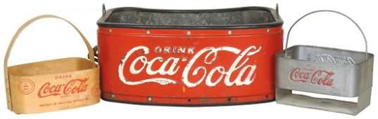 CocaCola vendor bottle carrier embossed metal VG