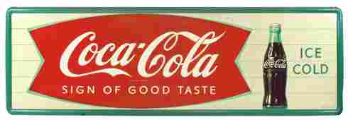 Coca-Cola sign w/fishtail & bottle graphic, self-framed