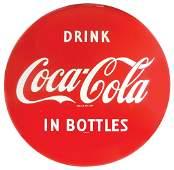 "Coca-Cola button sign, ""Drink Coca-Cola in Bottles"","