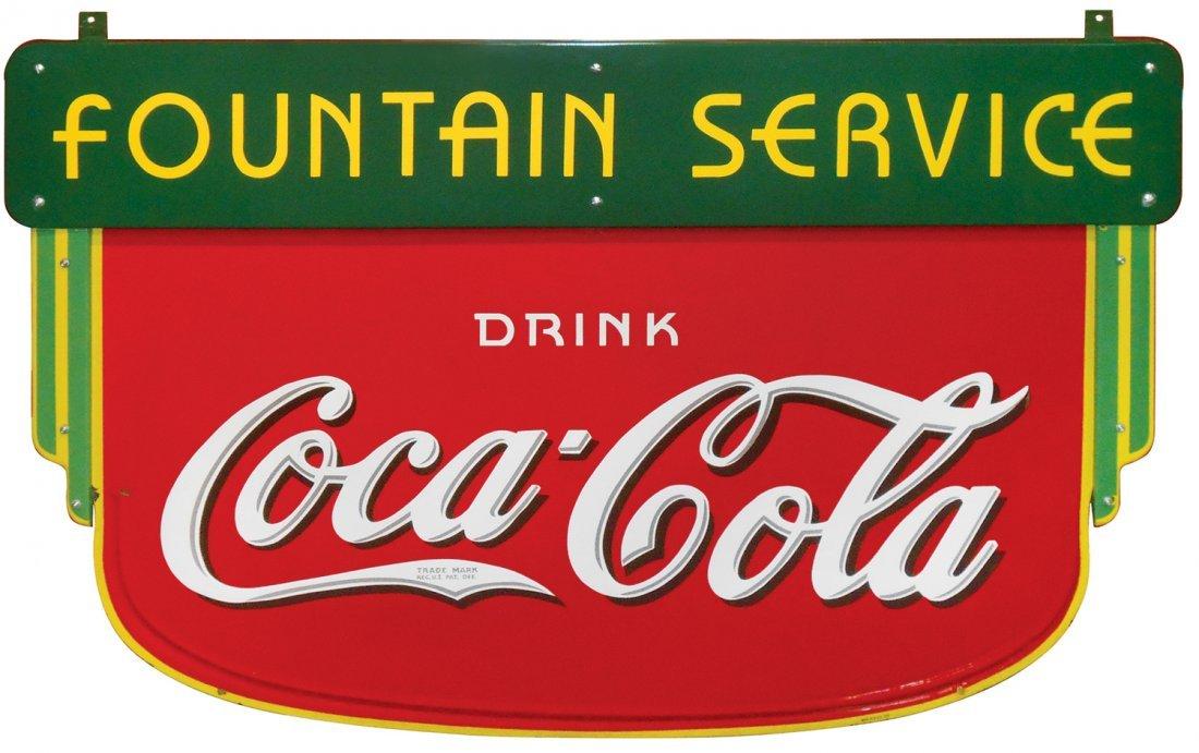 Coca-Cola sign, 2-sided porcelain hanging sidewalk sign