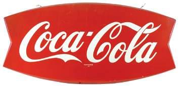 Coca-Cola fishtail sign, diecut metal w/rolled