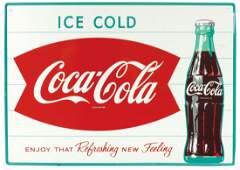 Coca-Cola sign, fishtail w/bottle, self-framed metal,