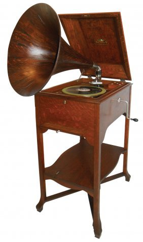 Phonograph, Victor School House Victrola on stand, oak