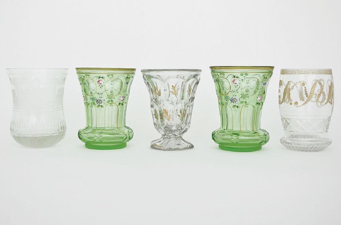 FIVE BOHEMIAN GLASS BEAKERS