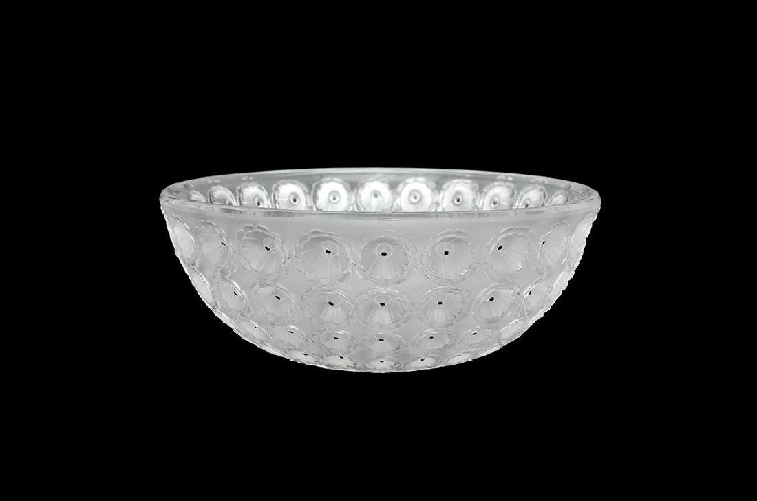 A LALIQUE CRYSTAL GLASS AND ENAMEL 'NEMOURS' BOWL