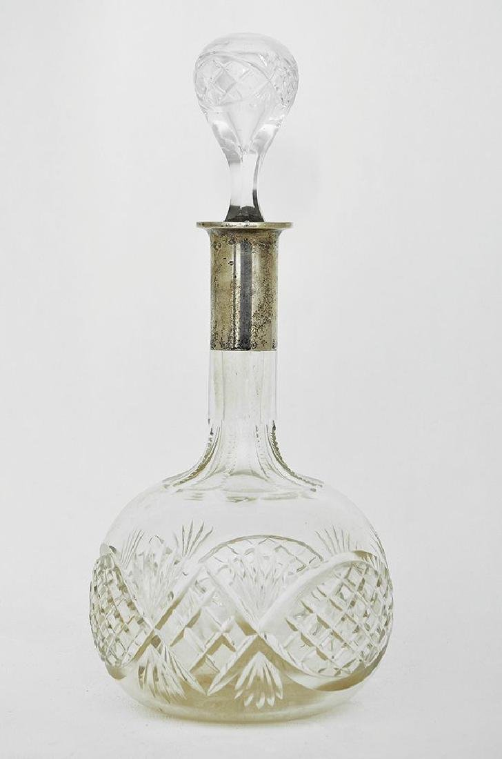A GERMAN SILVER MOUNTED CRYSTAL DECANTER AND STOPPER