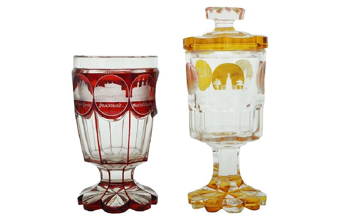 TWO BOHEMIAN CRYSTAL GOBLETS