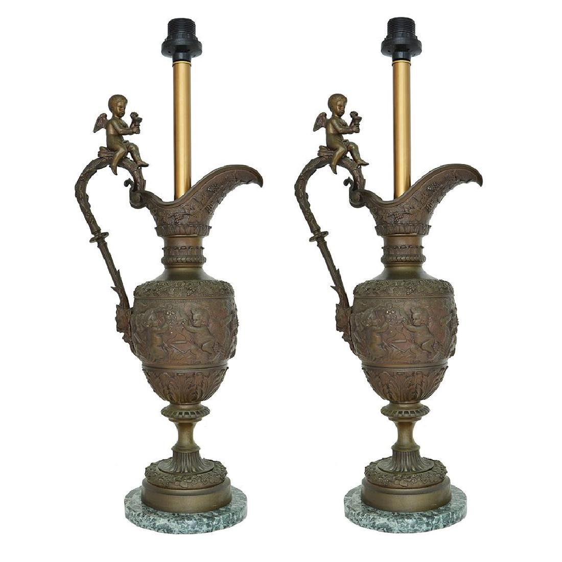 A PAIR OF CAST BRASS LAMP BASES