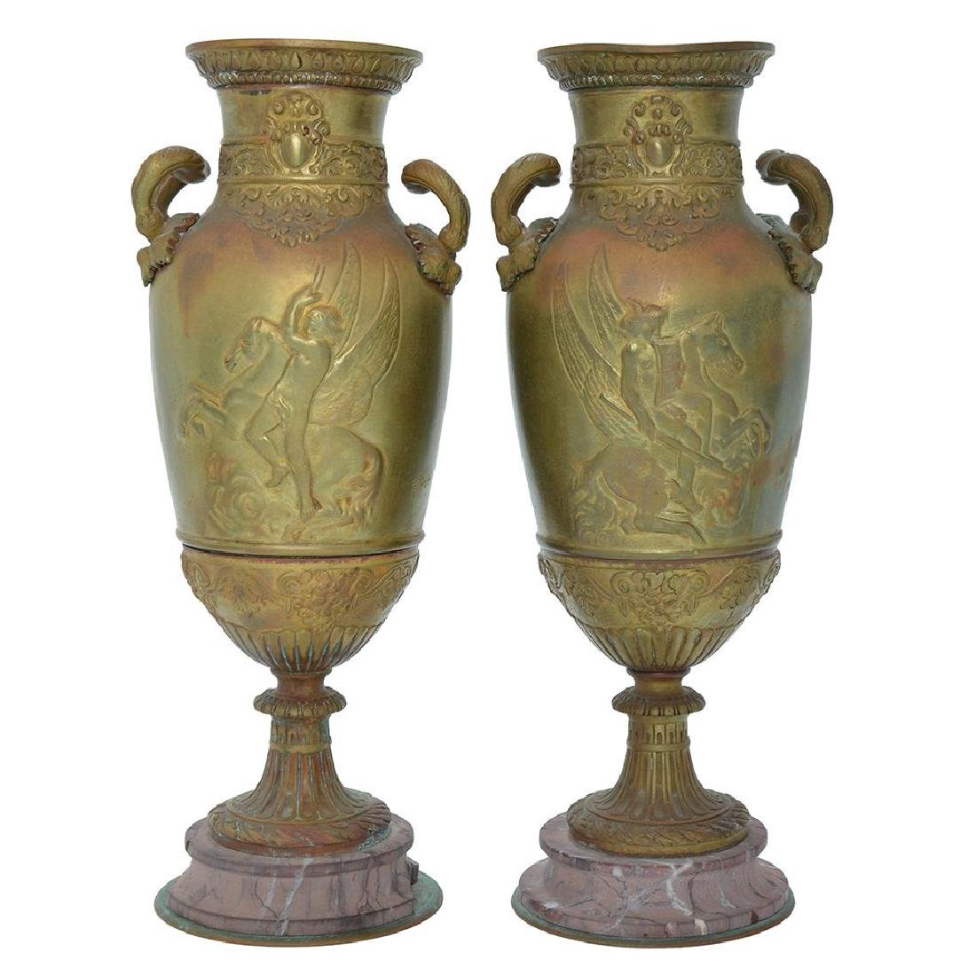 A PAIR OF FRENCH GILT BRONZE URN VASES