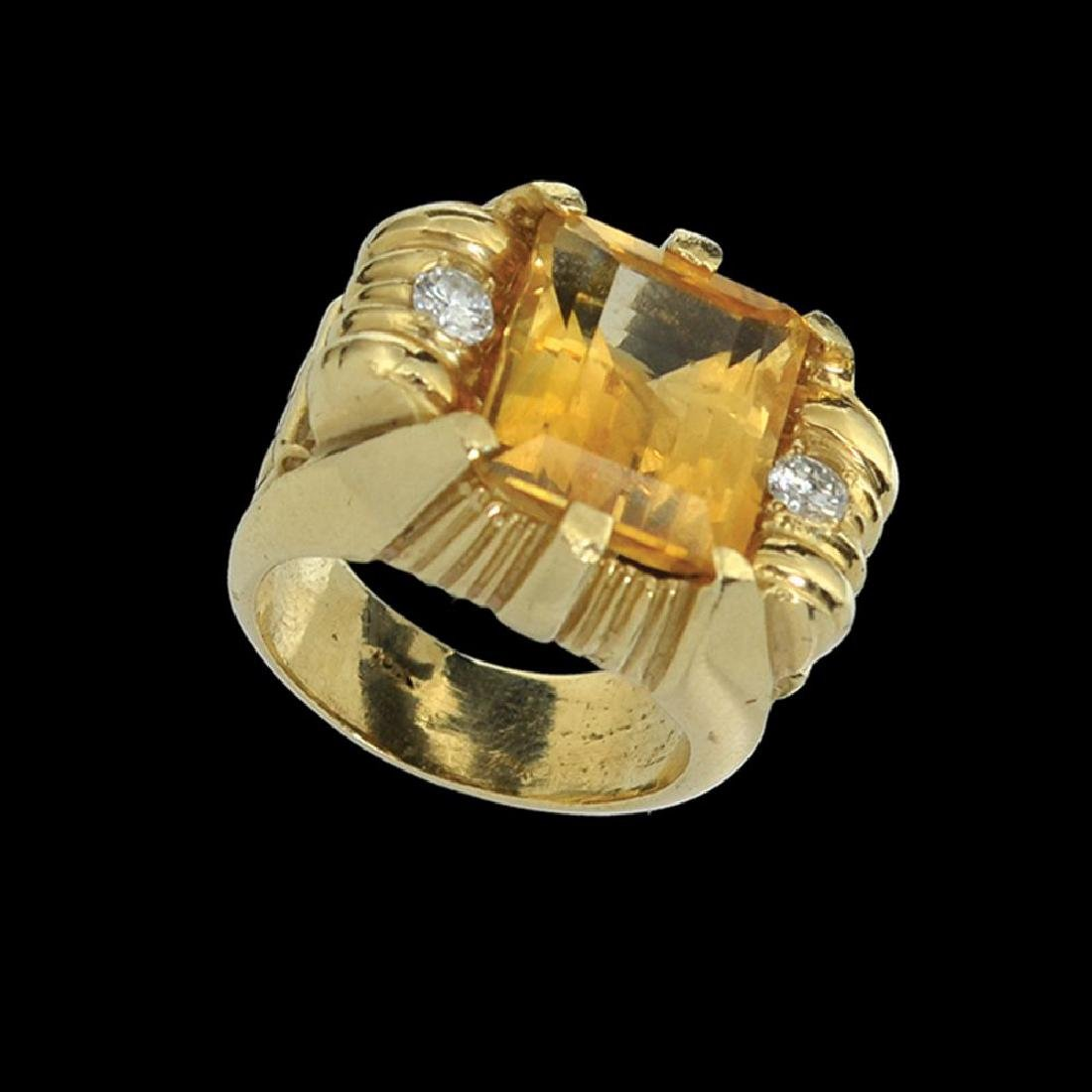 A 14K GOLD RETRO RING