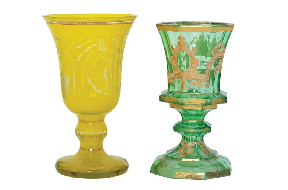 TWO BOHEMAIN GLASS GOBLETS