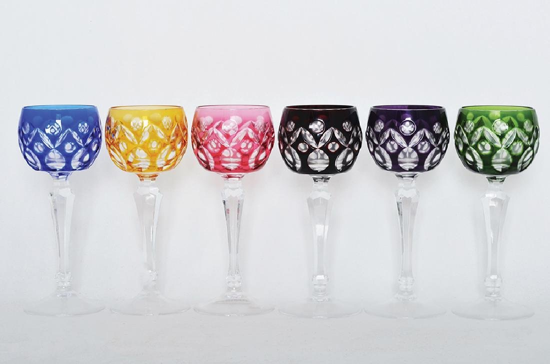 A SET OF SIX CUT TO CLEAR WINE STEM GOBLETS