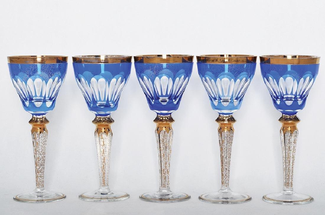 FIVE CRYSTAL WINE GOBLETS
