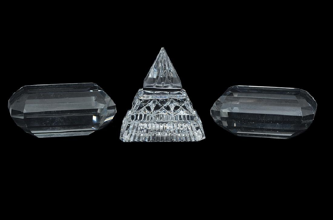 THREE CRYSTAL GLASS PAPER WEIGHTS
