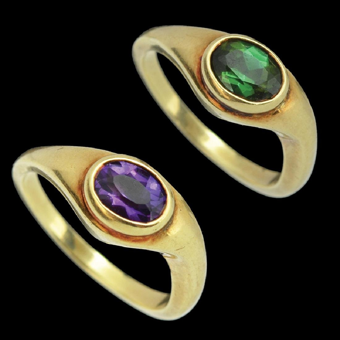 A SET OF TWO 14K GOLD RINGS